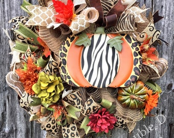 Fall Wreath, Thanksgiving Wreath, Autumn Wreath, Leopard Pumpkin Wreath, Pumpkin Wreath, Fall Decor, Thanksgiving Decor, Pumpkin Decor