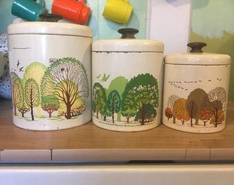Vintage canister four seasons containers tins retro kitchen boho nature canisters
