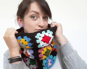 Vintage style Granny Square Crochet Snood Scarf - Infinity Scarf - Handmade Fashion - ooak - MADE TO ORDER - 70's style fashion - seventies