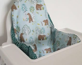 Antilop IKEA highchair cushion cover - cushion cover only - forest bear and teal fabric cushion cover - ikea high chair cover- MADE to ORDER