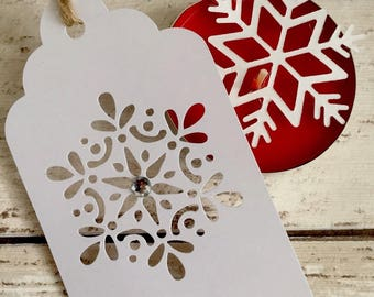 8 White Detailed Filigree Snowflake Gift Tag for Christms Presents, Winter Festive Wedding Tags Favour Tags