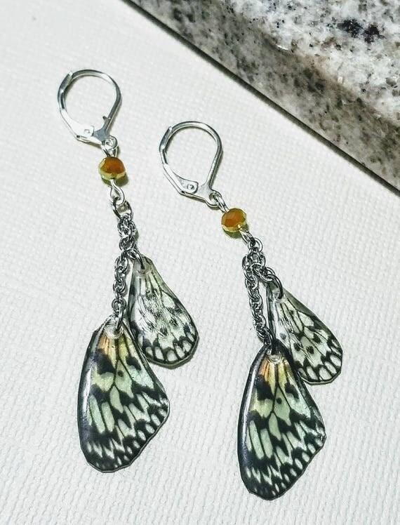 Mini Green Butterfly Wing Earrings