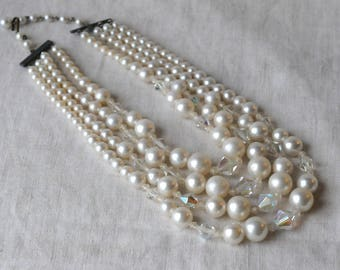 Vintage Faux Pearl and Crystal Necklace, 4 Strand, Plastic Pearl, AB Crystal, KC096