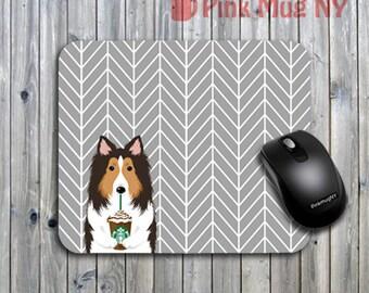 Personalized computer Mouse pad, gift idea, desk accessory - I love Starbucks - Shetland Sheepdog