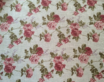 Linen fabric Shabby Chic Roses Natural brown / Rustic - 100% Linen - by the metre