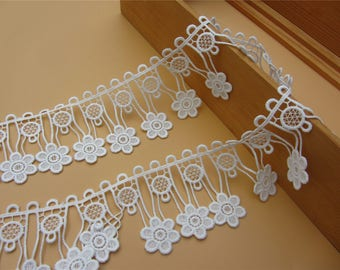 6.5cm white lace trim for DIY sewing,good wedding tassels lace ribbon