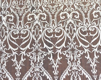 Baroque lace fabric by yard , white lace fabric-Embroidery lace fabric-LSME0001