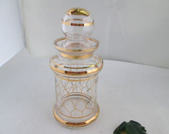 Vintage Gold Accented Glass Apothecary Jar with Lid Small Apothecary Jar Glass Jar with lid Glass Storage Jar with Lid Lidded Jar Gold jar