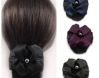 Elegant Oversized Bow with Net Snood, hair bun cover, big hair bow barrette - black / navy / deep purple red