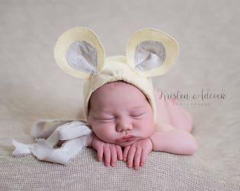 MinnieMousie, newborn size, yellow/grey photo prop, uk seller
