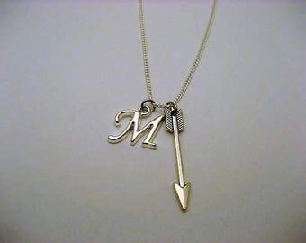 Silver Arrow Necklace  Personalized Archery Necklace Initial Necklace Letter Necklace Arrow Jewelry Archery Jewelry