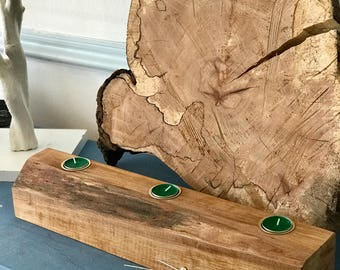 Reclaimed Wooden tealight candle holder; perfect Christmas table Centrepiece.