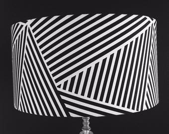 Striped lamp shade etsy modern black white striped drum lamp shade mozeypictures Image collections