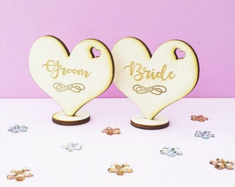 Personalised wedding table name place cards wooden hearts with standing base