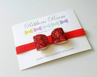 Red headband christmas headband Baby headband flower girl headband snow white hair bow glitter hair bow baby red headband red glitter bow