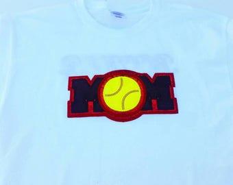 Softball Mom Shirt - Softball T-Shirt - Sports Mom - Ball Mom - Mom Life - Mom Shirt - Glitter Shirt - Team Mom - Softball Mom Gift