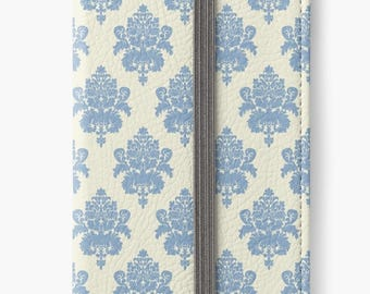 Folio Wallet Case for iPhone 8 Plus, iPhone 8, iPhone 7, iPhone 6 Plus, iPhone SE, iPhone 6, iPhone 5s -  Blue & Cream Damask Case