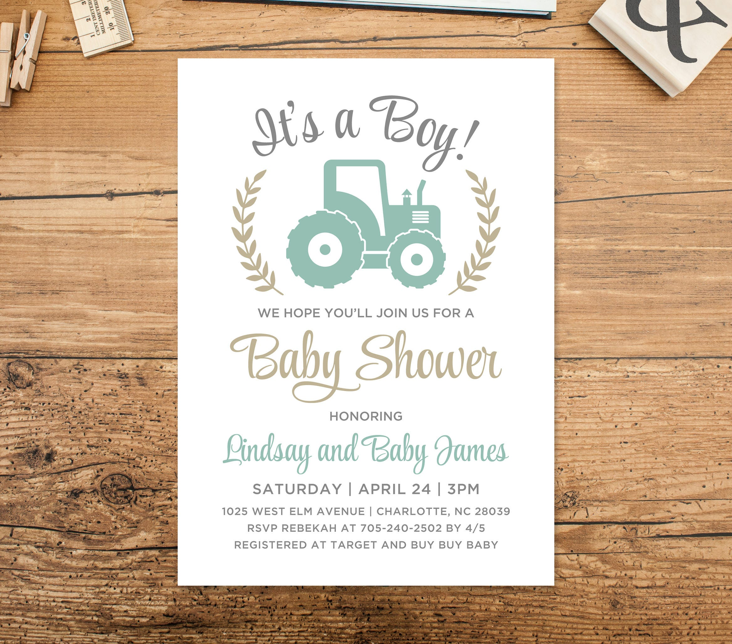 It\'s a Boy Baby Shower Invitation Mint Green Gray Tan