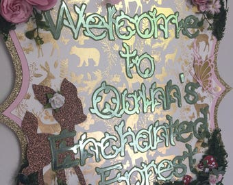 Enchanted forest welcome sign, birthday welcome sign, enchanted forest birthday decor
