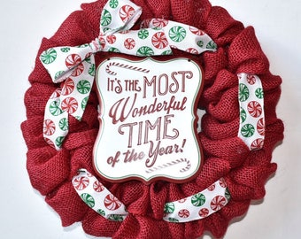 Christmas Holiday MINI Wreath - Merry Christmas Most Wonderful Time Red Burlap Wreath