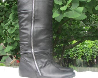 Size 6 Black Leather Boots, Tall Leather Fashion Boots, Low Heel Leather Zipper Boots, by LOGAN,  Size 36-37 European Size 4 UK