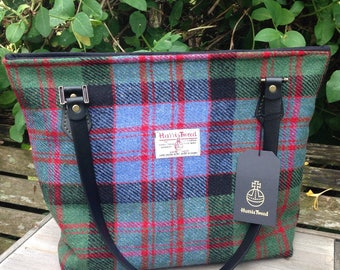 Harris tweed large tote bag in MacDonald tartan tweed, with leather shoulder straps