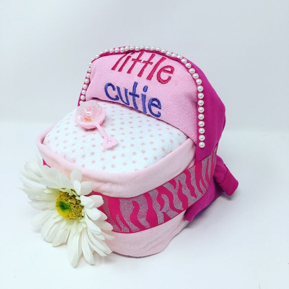 Mini diaper cake bassinet, Pink elegant Diaper cake, Baby Girl Diaper Cake, , Baby shower gift, centerpiece, Diaper cake, baby shower gift