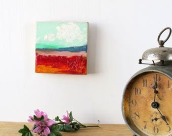 small art, horizontal landscape, abstract painting, poppy field, red and pink, original painting, square painting