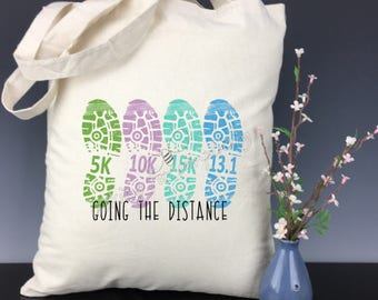 Shoe Print Marathon, Half Marathon, 5K, 10K, 15K, 20K, 25K, 30K Running Light Weight Tote Bag