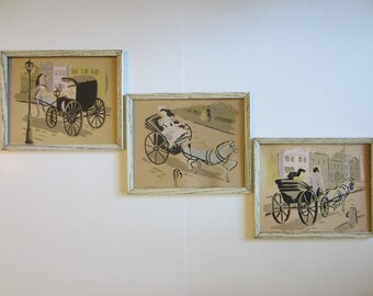 Equestrian Set Of Three Prints Copyrighted By Bernard Picture Co