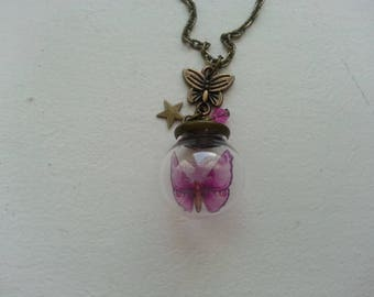 Glass globe butterfly and small bronze necklace