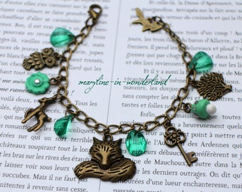 Emerald green and bronze Fox charm bracelet charm