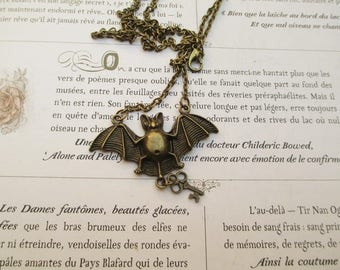 steampunk necklace bat mouse bronze
