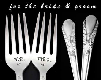 Stamped Wedding Forks Mr Mrs Fork Something Old Vintage Hand Stamped Floral Dinner Forks Mr Mrs Flatware Engagement Gift Gift for Couple