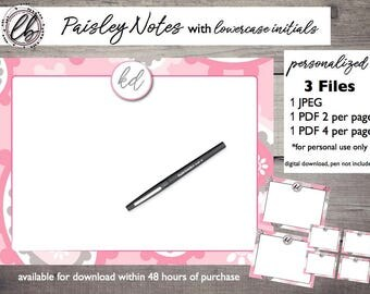 Paisley Note Cards [Personalized Digital Download]