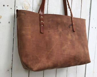 Leather Tote, Rustic Brown Raw Leather, Upcycled Lining, Lap top, work bag, carry all