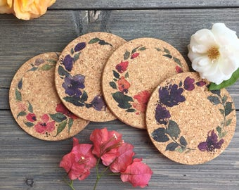 Watercolor Flower Wreaths Cork Coaster Set of 4