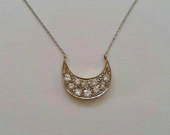 Vintage Diamond cresent moon,crescent moon