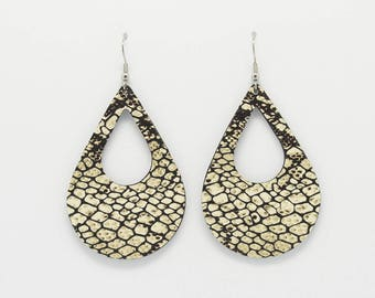 Large earrings ETHNIC leather