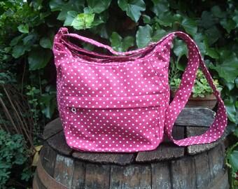 Cherry red polka dotted canvas shoulder bag,zippered bag