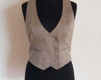 Beige Formal Women's Fitted Waistcoat Office Vest Size Large