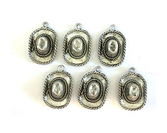 Cowboy Hat CHARM (6) charms antique pewter - 6 charms per pack