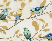 1/2 Yard Timeless Treasure Fly Away Birds on Branches Cream C5621 designed by Janelle Penner
