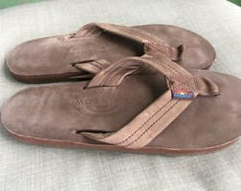 CLEARANCE3! Rainbow women's men's unisex brown leather one layer thongs flip flops