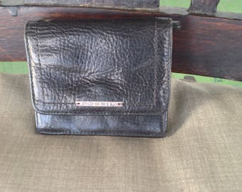 Vintage Small but compact Fossil Unisex Black Leather Wallet with coin purse