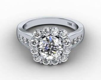 Forever One Moissanite Engagement Ring 1.20ct Round Charles & Colvard Moissanite 1.22ct Natural Diamonds 18k Gold Ring Pristine Custom Rings