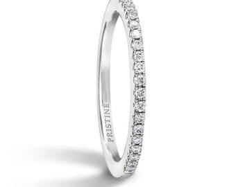 Platinum Diamond Wedding Band Round Diamonds .13ct French Pave Set Diamond Band Wedding Band Anniversary Band Wedding Ring