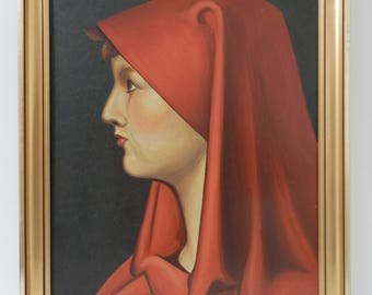 Antique French Pre~Raphaelite Oil Painting. Saint Fabiola. Vintage French Oil Painting. J.J Henner. French Decor. Home Decor. Art. Sculpture