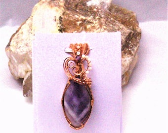 Chevron Amethyst Handmade Wire Wrapped Pendant with Mother of Pearl and Amethyst Beads