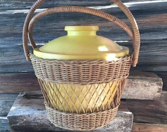 Vintage Ice Bucket, Wicker, Nicer Ice Bucket, Cooler,  Picnic Basket, Mid Century, Barware, Housewares